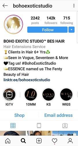 instagram of boho exotic studio